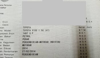 Toyota VIOS 1.5 G (A) PUSH START FULL LOAN -TY full